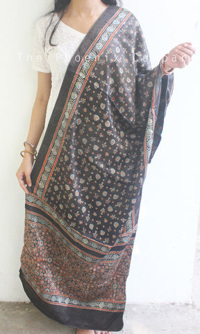 Ajrakh Dark Grey Dupatta
