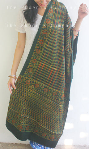 Ajrakh Green Striped Dupatta