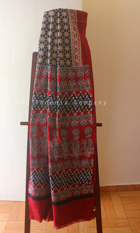 Ajrakh Red & Black Floral Mul Cotton Saree