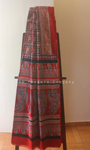 Ajrakh Red & Black Mul Cotton Saree