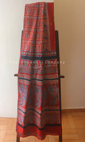 Ajrakh Red & Blue Patterned Mul Cotton Saree