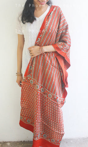 Ajrakh Red Striped Dupatta
