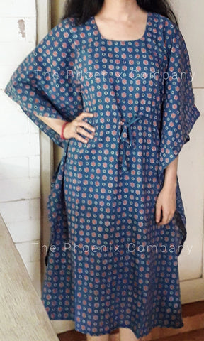 Blue Floral Cotton Long Kaftan