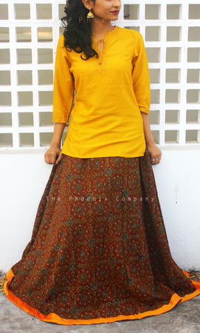 Ajrakh skirt with mustard border