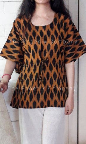 Black Ikat Short Kaftan