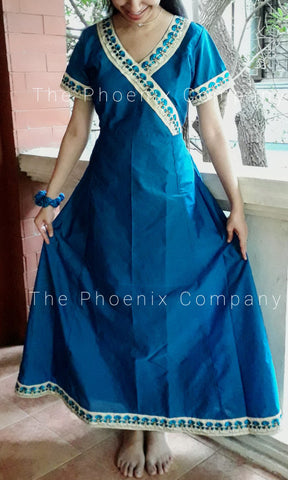 Blue Floral Anarkali Dress