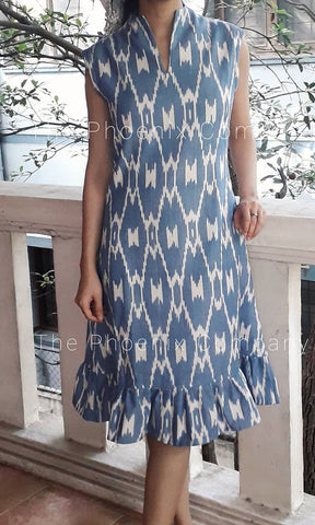 Pastel Blue Ikat Dress