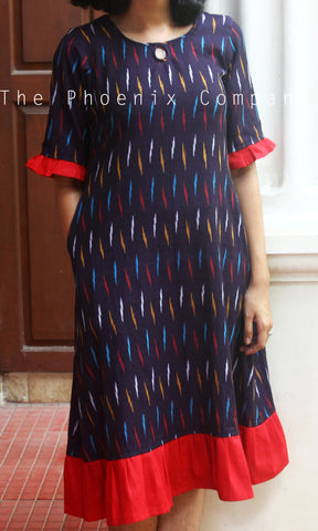 Jamun ikat Dress With Frills