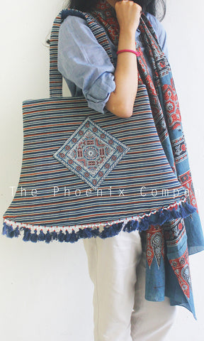 Blue Ajrakh Lantern Bag