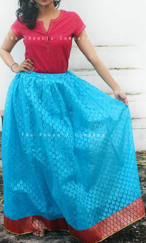Light Blue Long Ethnic Skirt