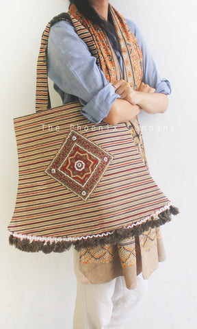 Brown Ajrakh Lantern Bag