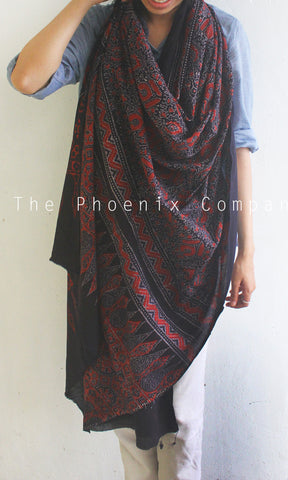Dark Brown Handblock printed Natural Dye Mul Cotton Ajrakh Dupatta