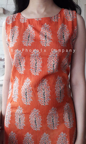 Orange Big Floral Ajrakh Dress