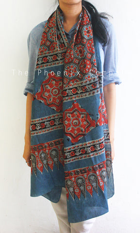 Ajrakh Blue & Red Stole