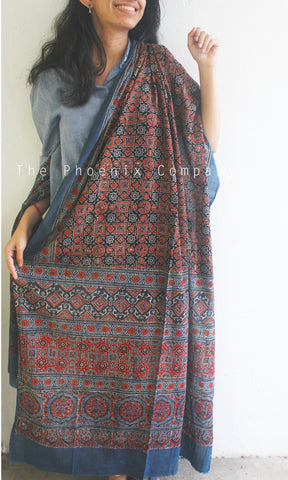 Ajrakh Blue & Red Mul Cotton Dupatta