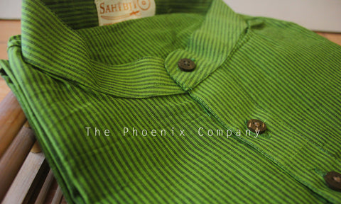 Green Striped Cotton Short Kurta