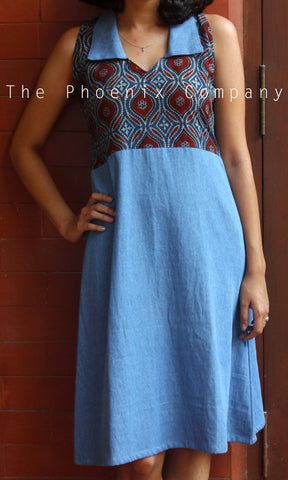Denim Ajrakh Dress