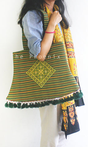 Green Ajrakh Lantern Bag