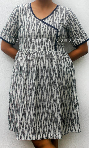 Grey & White Ikat Dress