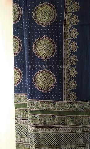 Ajrakh Blue & Green Polkadot Mul Cotton Saree