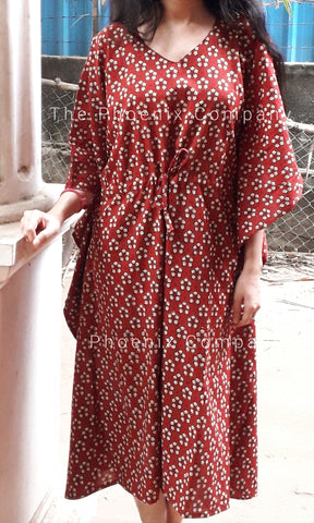 Maroon Floral Cotton Long Kaftan