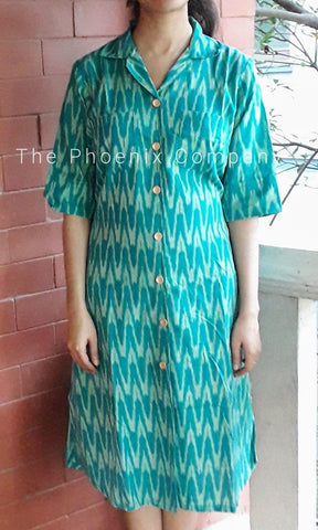 Teal Green Collared Ikat Dress