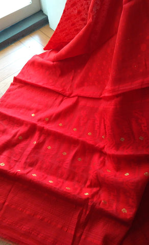 Red Ahimsa Silk and Cotton Saree