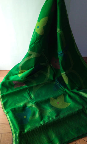 Green Pineapple Fibre Saree