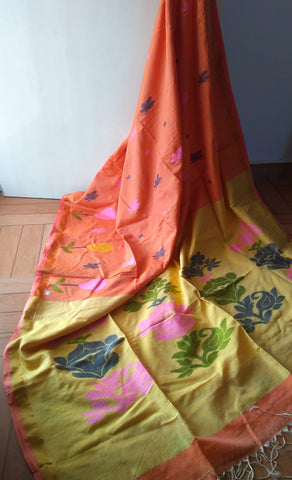 Light Orange & Lemon Yellow Handloom Ahimsa Silk & Cotton Saree