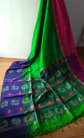 Elephant & Lotus Parrot Green Soft Cotton Handloom Saree