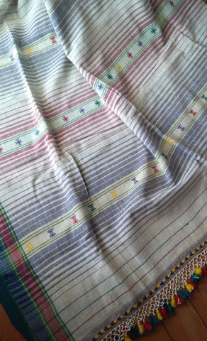 Kala Cotton Handloom Off-White Bhujodi Saree