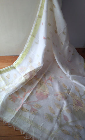 White Ahimsa Silk & Pineapple fibre saree