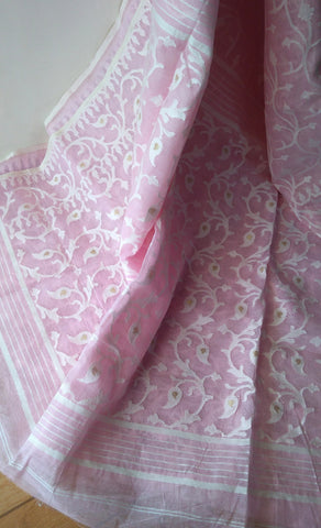 Light Pink Pineapple Fibre & Cotton Saree