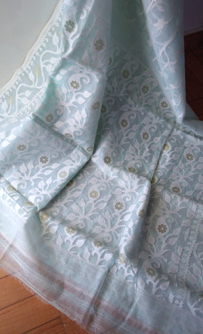 Light Blue Ahimsa Silk & Cotton Saree