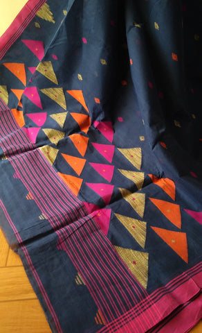 Dark Blue with Pink border Cotton Saree