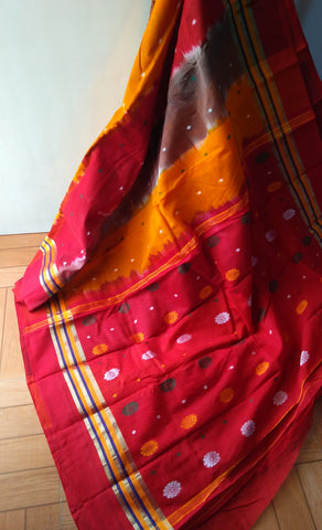 Red with Mustard Cotton Saree