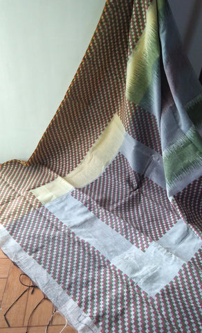 Grey Checks Jute Silk & Cotton Saree