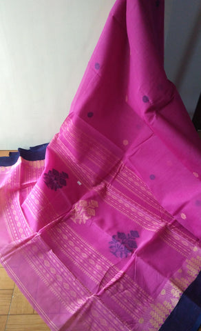 Pink Cotton Saree