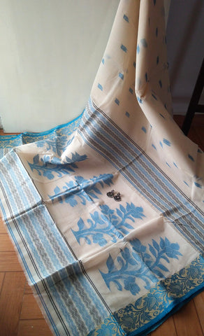 Off-White & Blue Cotton Saree
