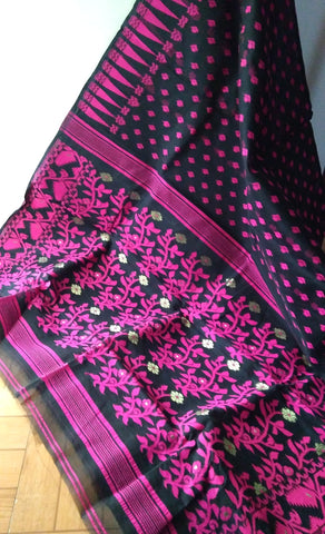 Black & Pink Floral Cotton Saree