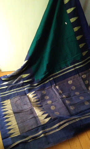 Dark Green & Dark Blue Cotton Saree