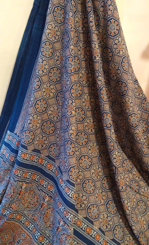 Ajrakh Blue & Red Intricate Mul Cotton Saree