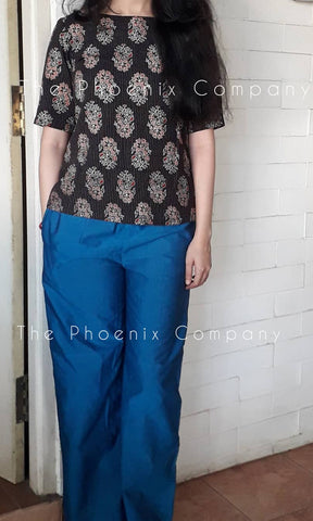 Black Ajrakh Top & Blue Pants Set