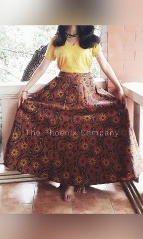 Brown Floral Printed Kalamkari Skirt