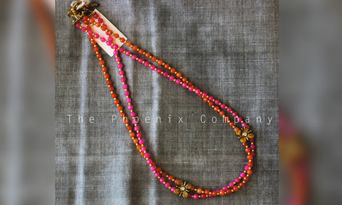 Orange and Pink Beaded Necklace