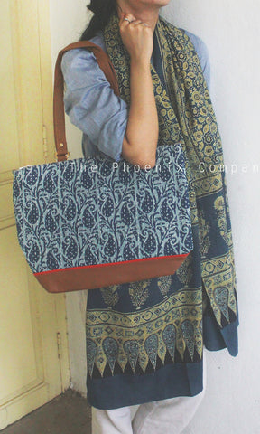 Blue Paisley Handbag with Faux Leather Base