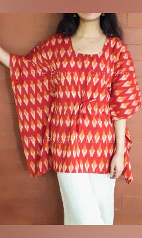 Red Ikat Short Kaftan