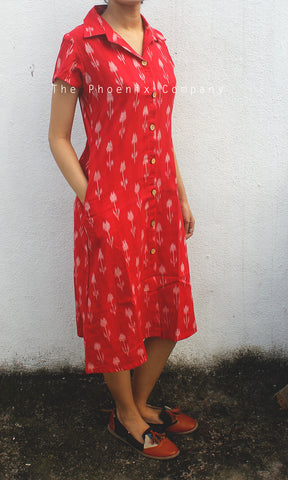 Red Ikat Collared Dress