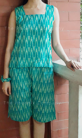 Teal Green Ikat Top & Shorts Set