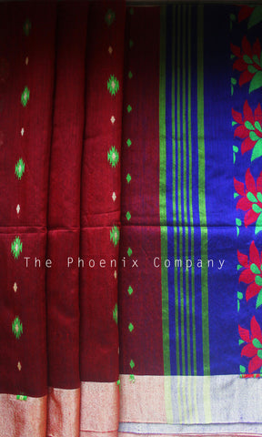 Maroon & Blue Jute Silk & Cotton Saree